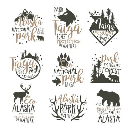 Alaska national park labels set. Forest protection hand drawn vector Illustrations Illustration