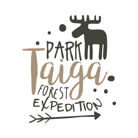 Taiga park forest expedition design template, hand drawn vector Illustration
