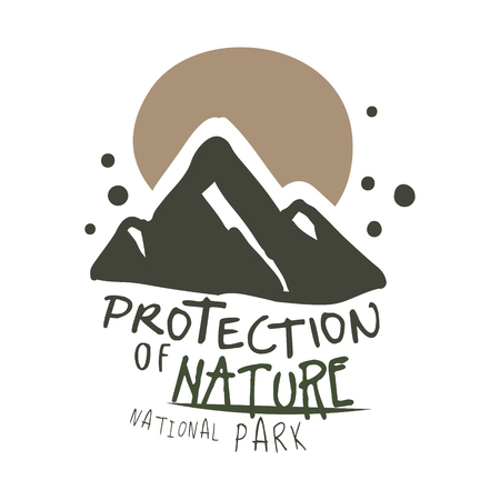 Protection of nature national park design template, hand drawn vector Illustration