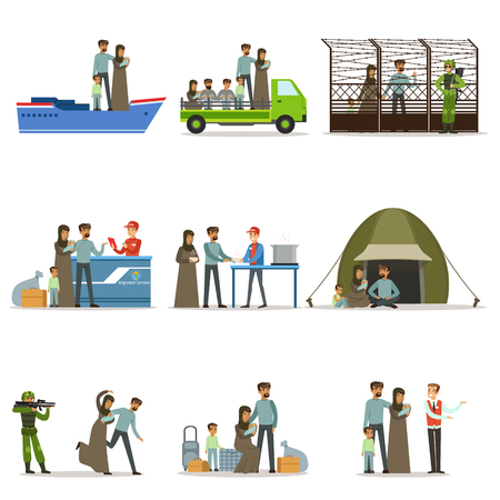 Stateless refugees set. Illigal immigrants and war victims vector illustrations