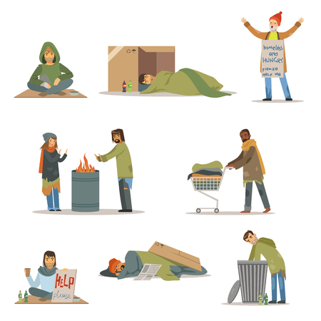 Homeless people characters set. Unemployment men needing help vector illustrations Illustration