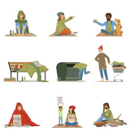 ホームレスの人々 のセット。男性、女性、子供ヘルプ ベクター イラストを必要とします。