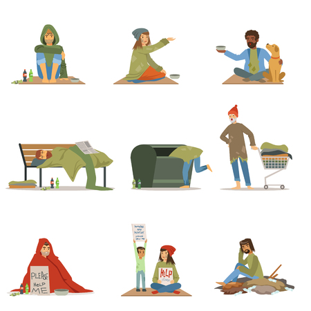 Homeless people set. Men, women, children needing help vector illustrations