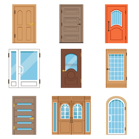 Front doors, collection of vIntage and modern doors to houses and buildings vector illustrations Illustration