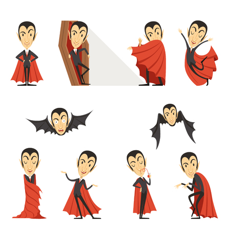 Count Dracula wearing red cape. Set of cute cartoon vampire characters vector illustrations