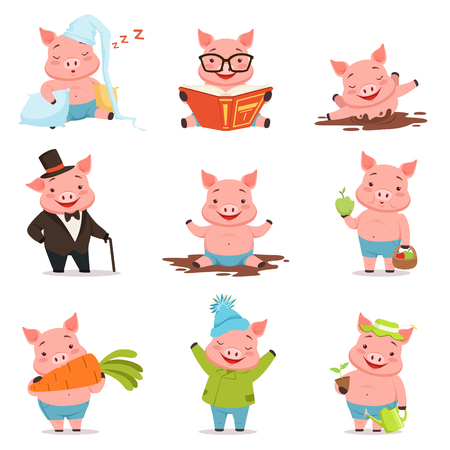 Funny little pigs in different situations set. Colorful cartoon characters illustrations isolated on a white background