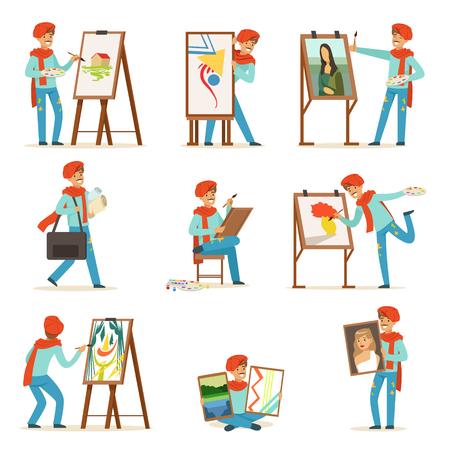 Het gelukkige het glimlachen kunstenaar schilderen op canvasreeks. Getalenteerde schilder kleurrijke karakter illustraties geïsoleerd op een witte achtergrond
