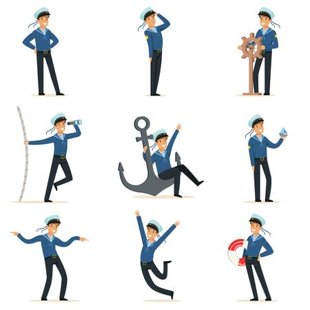 彼の仕事をしているセーラーの文字セット。さまざまな状況の漫画のベクトル イラストの船員  イラスト・ベクター素材