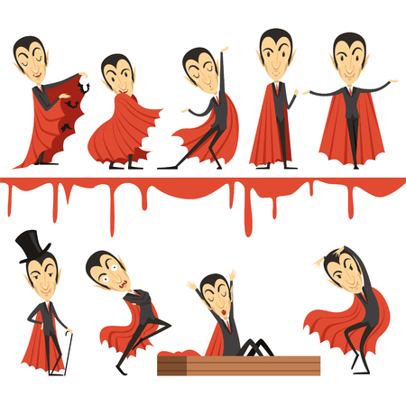 Cartoon Count Dracula wearing red cape set. Vampire characters illustrations isolated on a white background