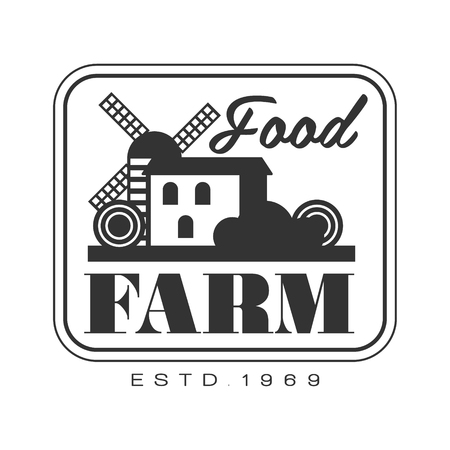 Food farm product estd 1969. Black and white retro vector Illustration