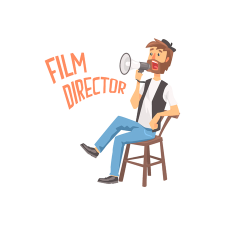 filmmaker: Film director sitting in his chair speaking into a megaphone, cartoon character vector Illustration