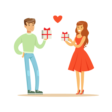 Young enamored woman and man standing and holding gift boxes with red ribbon colorful character vector Illustration