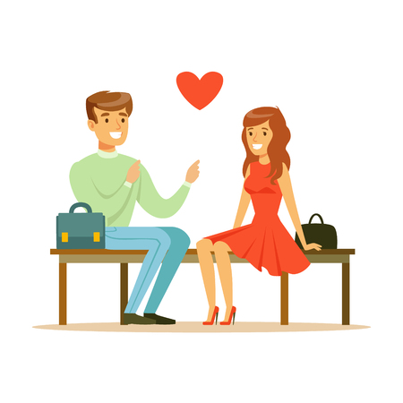 Loving couple sitting on a park bench colorful character vector Illustration Illustration