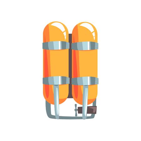 Orange oxygen cylinders vector Illustration