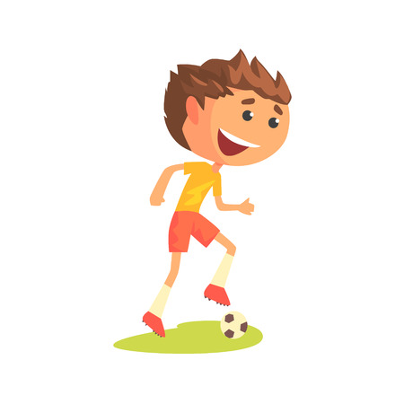 Young soccer player kicking the ball cartoon vector Illustration