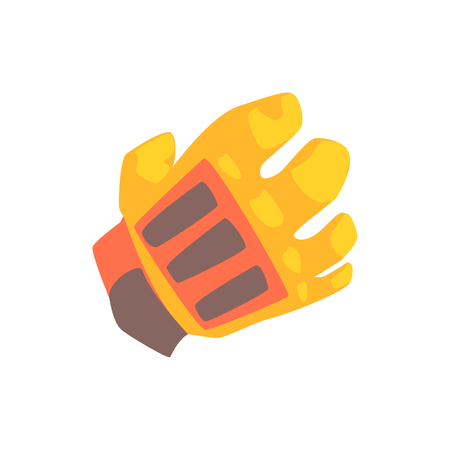 Orange goalkeeper glove cartoon vector Illustration