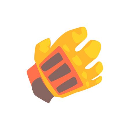 Orange goalkeeper glove cartoon vector Illustration