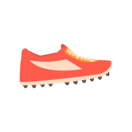 Red spiked football shoe cartoon vector Illustration Illustration