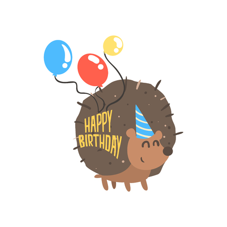 Cute cartoon hedgehog in a blue party hat and balloons Happy Birthday colorful vector Illustration Illustration