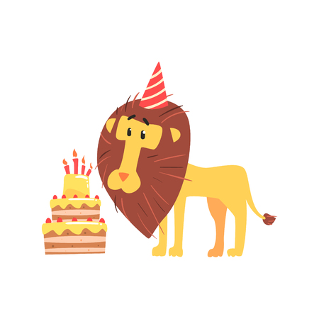 Cute cartoon lion in a party hat and birthday cake. Happy Birthday colorful vector Illustration