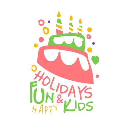 Feiertagsspaß und Kinder promo Zeichen. Kinder Partei bunte Hand gezeichnet Vektor Illustration Standard-Bild - 79011306
