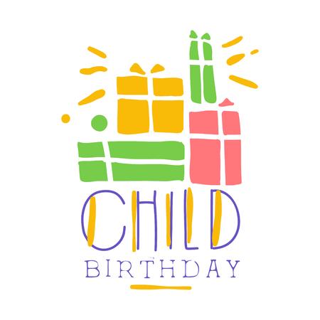 Kindergeburtstag Promo Zeichen. Bunte Hand gezeichnete Vektorillustration der Partei der Kinder Standard-Bild - 79072736