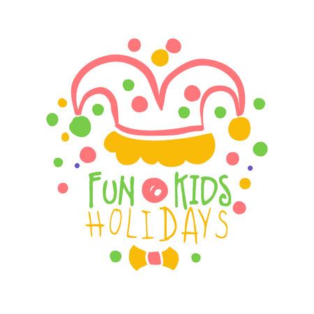 Fun Kinder Urlaub Promo Zeichen. Bunte Hand gezeichnete Vektorillustration der Partei der Kinder Standard-Bild - 79029530