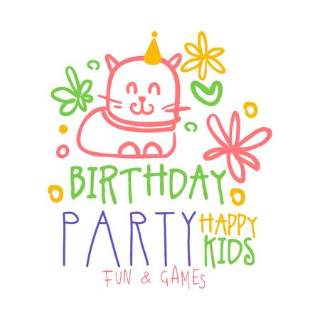 Glückliche Kinder der Geburtstagsfeier Spaß und Spiel Promo Zeichen. Bunte Hand gezeichnete Vektorillustration der Partei der Kinder Standard-Bild - 79022515