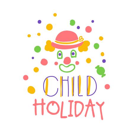Signo de promoción de vacaciones de niño. Fiesta infantil dibujada a mano colorida ilustración vectorial Foto de archivo - 79013190