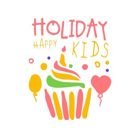 Feiertagsglückliches Kinder-Promozeichen. Gezeichnete Vektor Illustration der bunten Hand der Kinder Partei Standard-Bild - 79071312