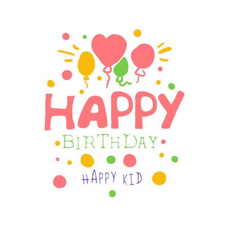 Alles Gute zum Geburtstag glückliches Kinderpromozeichen. Bunte Hand gezeichnete Vektorillustration der Partei der Kinder Standard-Bild - 79022517