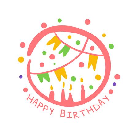 Alles Gute zum Geburtstag Promo-Zeichen. Childrens Party bunte Hand gezeichnet Vektor Illustration Standard-Bild - 79029541