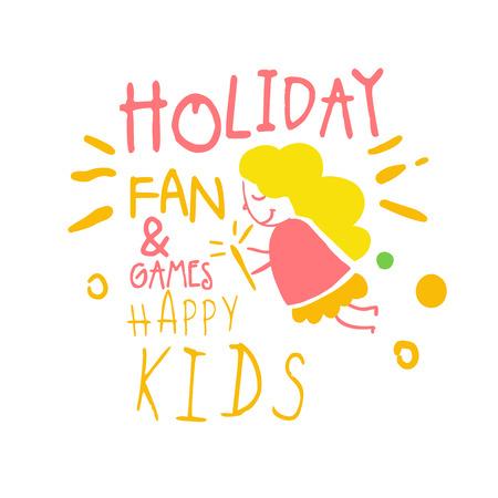 Feiertagsfan und -spiele glückliches Kinder-Promozeichen. Gezeichnete Vektor Illustration der bunten Hand der Kinder Partei Standard-Bild - 79072741