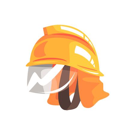 소방관 벡터 일러스트 레이션을위한 오렌지 안전 헬멧