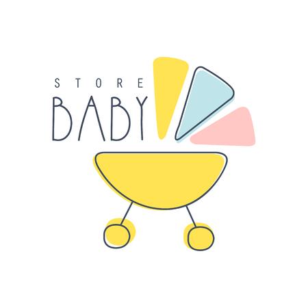 Baby winkel kleurrijke hand getrokken vector illustratie label voor winkel, winkel, bedrijfsidentiteit, reclame, poster, kaart, banner, uitnodiging Stock Illustratie