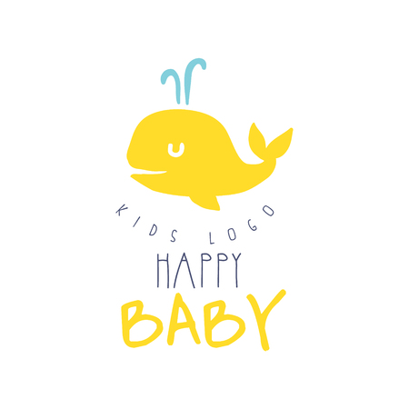 Happy baby kids colorful hand drawn vector Illustration label for shop, store, company identity, advertising, poster, card, banner, invitation