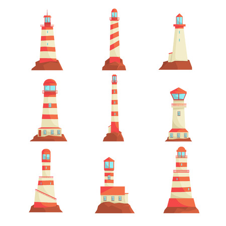 Searchlight towers for maritime navigational guidance set. Collection of lighthouses vector Illustrations isolated on a white background
