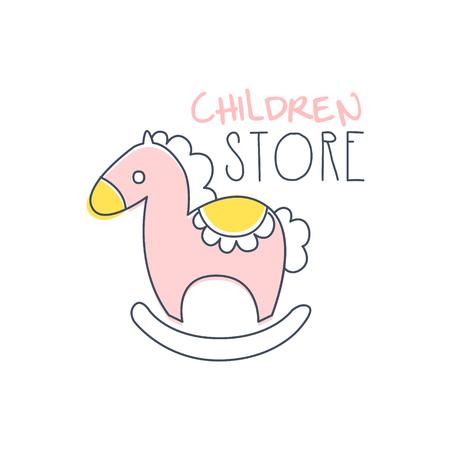 Kinderen winkel logo kleurrijke hand getrokken vector illustratie label voor winkel, winkel, bedrijfsidentiteit, reclame, poster, kaart, banner, uitnodiging
