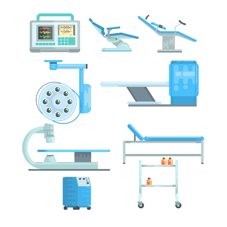 Modern medical and examination equipment set of vector Illustrations isolated on a white background Ilustracja