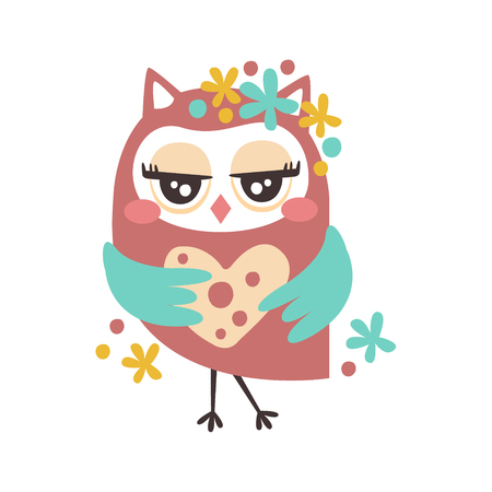 Cute cartoon flirtatious owl bird colorful character vector Illustration isolated on a white background Illustration