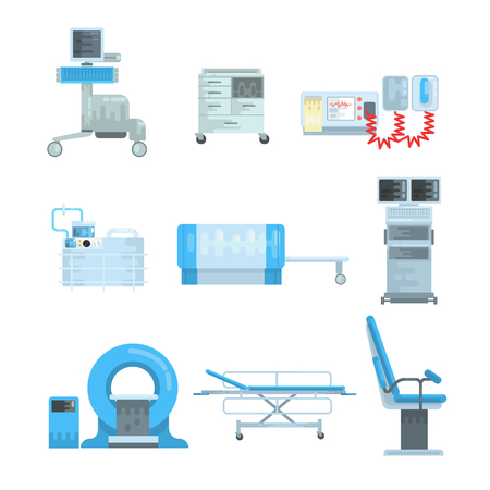 Innovational medical diagnostic equipment set of vector Illustrations isolated on a white background