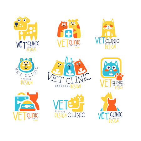 Vet clinic original label design, colorful hand drawn vector Illustrations isolated on white background