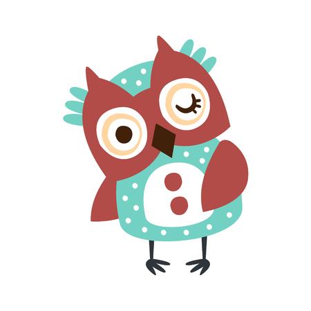 Cute cartoon owl bird winking colorful character vector Illustration