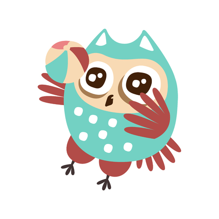 Cute cartoon owl bird playing a ball colorful character vector Illustration isolated on a white background