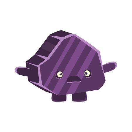 Purple puzzled rock element. Cartoon emotions character vector Illustration