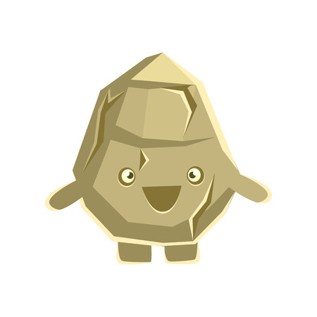Cute smiling rock element. Cartoon emotions character vector Illustration isolated on a white background Ilustração