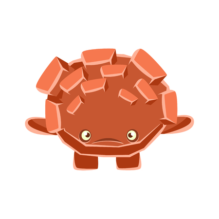 Cute upset rock element. Cartoon emotions character vector Illustration
