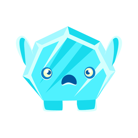 Cute crystal stone with frightened face. Cartoon emotions character vector Illustration Иллюстрация