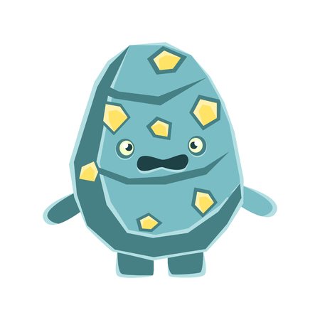 Cute dissatisfied blue rock element with yellow blotches. Cartoon emotions character vector Illustration