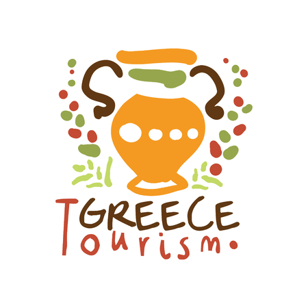 Greece tourism logo template hand drawn vector Illustration Illustration